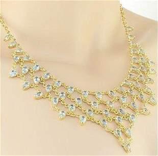 30.25 Cts Blue Topaz Elegant Designer Necklace $1,980!