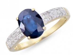 2.75 Cts Certified Blue Sapphire & Diamond Ring $12,150