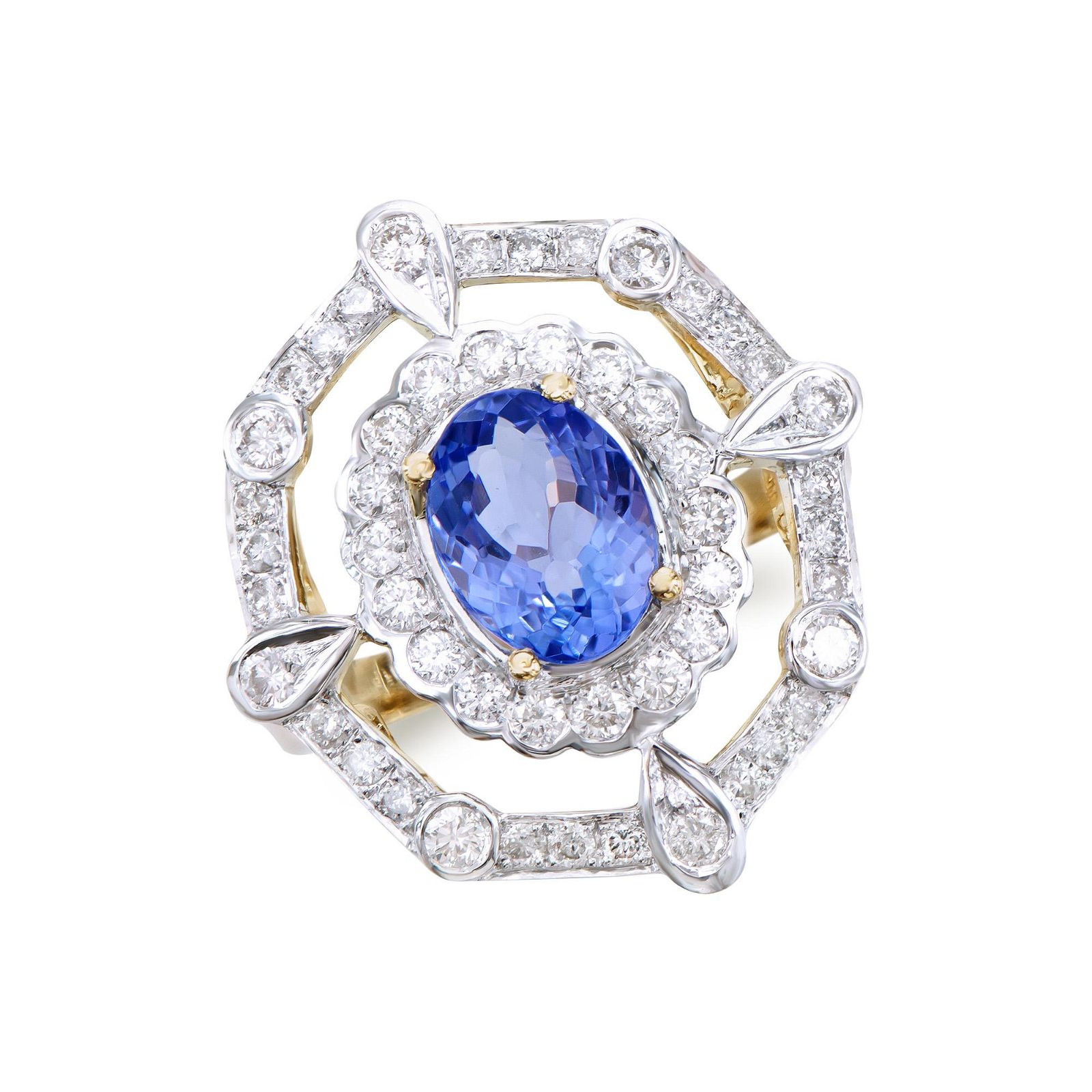 3.10 Ct Certified Tanzanite & Diamond Designer 14K Gold