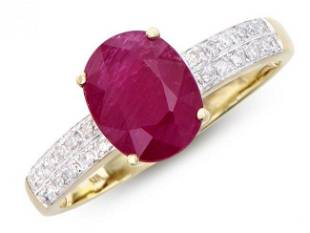 2.13 Cts Certified Ruby & Diamond Ring $12,550