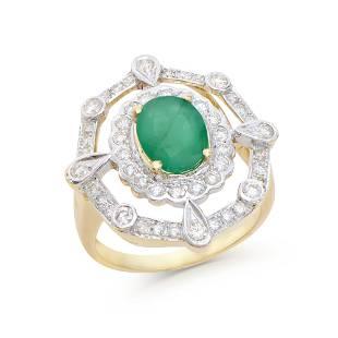 2.60 Ct Certified Emerald & Diamond Designer 14K Gold