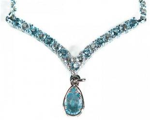 3.20 CT Blue & White Topaz Designer Necklace