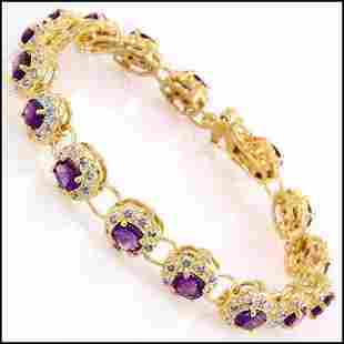 6.46 Cts Amethyst & Diamond Designer Bracelet