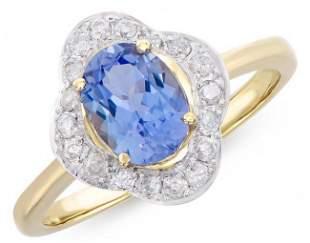 1.46 Ct Certified Tanzanite & Diamond Ring $8,150!