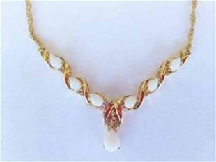 4.71 CT Opal & White Topaz 18KGP Designer Necklace