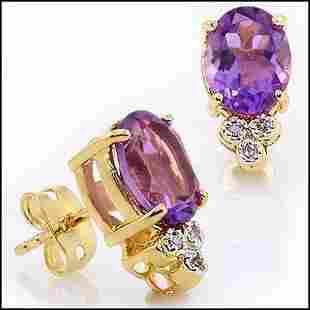 3.01 Cts Amethyst & Diamond 18KGP Designer Earrings