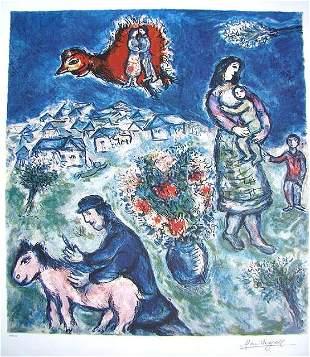 Marc Chagall Signed Litograph - Sur la Route du Village