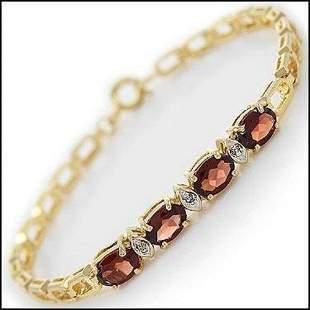 3.52 Cts Garnet & Diamond 18KGP Designer Bracelet