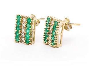 3.84 CT Green Agate & Diamond Designer Earrings $1,110