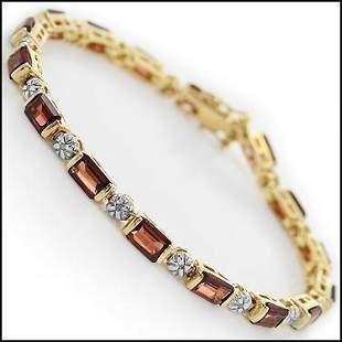 10.12 Cts Garnet & Diamond 18KGP Designer Bracelet