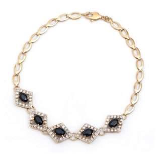 2.20 Cts Sapphire & Diamond 18KGP Designer Bracelet