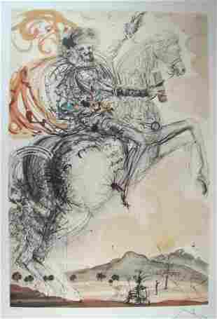 Salvador Dali Lithograph Don Quixote