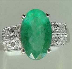 1.65 CT Emerald Diamond Ring Appraised $9,450