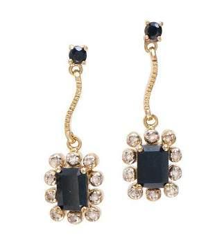 4.66 CT Sapphire & Diamond Designer Earrings $1,180