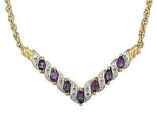 2.72 Cts Amethyst & Diamond Designer Necklace MSRP $775