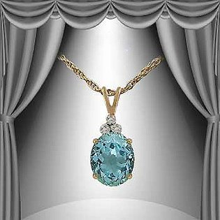 161: 6 CT Blue Topaz Diamond Pendant