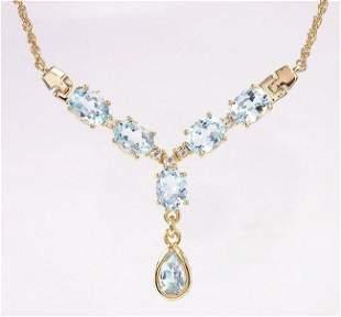 7.22 Cts Blue Topaz & White Topaz 18KGP Necklace
