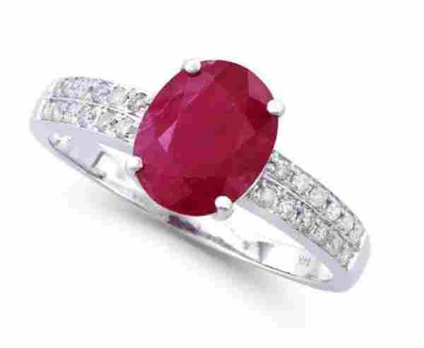 2.76 Ct Certified Ruby & Diamond 14k Gold Ring $12,550!