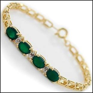 3.63 Cts Green Agate & Diamond 18KGP Designer Bracelet