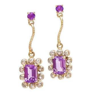 4.68 CT Amethyst & Diamond Designer Earrings $1,170