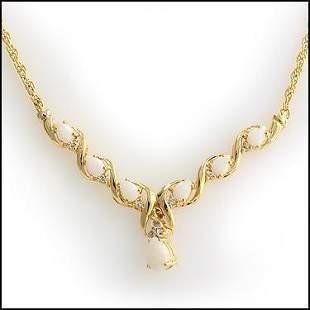 4.71 Cts Opal & White Topaz 18KGP Designer Necklace