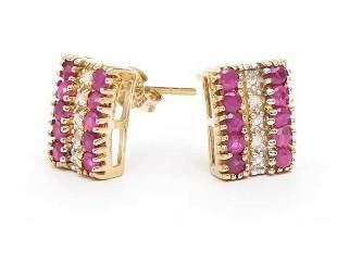 3.82 CT Ruby & Diamond Designer Earrings $1,160