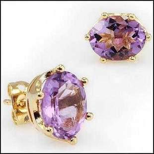 4.64 CT Purple Amethyst Stud Designer Earrings $745