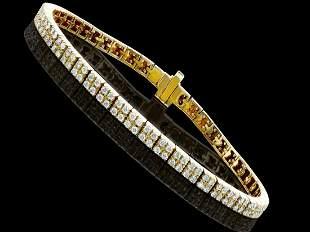 2.41 Ct Certified Diamond 14K Designer Gold Tennis