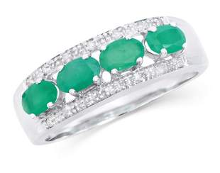 0.95 Ct Certified Emerald & Diamond 14K Designer Gold