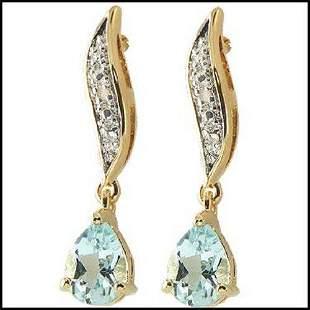 1.84 Cts Blue Topaz & Diamond 18KGP Designer Earrings