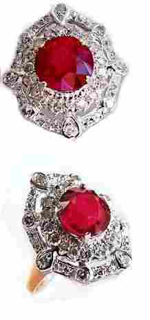 4 CT Ruby and Diamond Ring Appraised $18,500