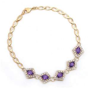 2.22 Cts Amethyst & Diamond 18KGP Designer Bracelet