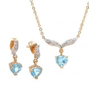 3.12 ctw Blue Topaz & Diamond Designer Set $1,375
