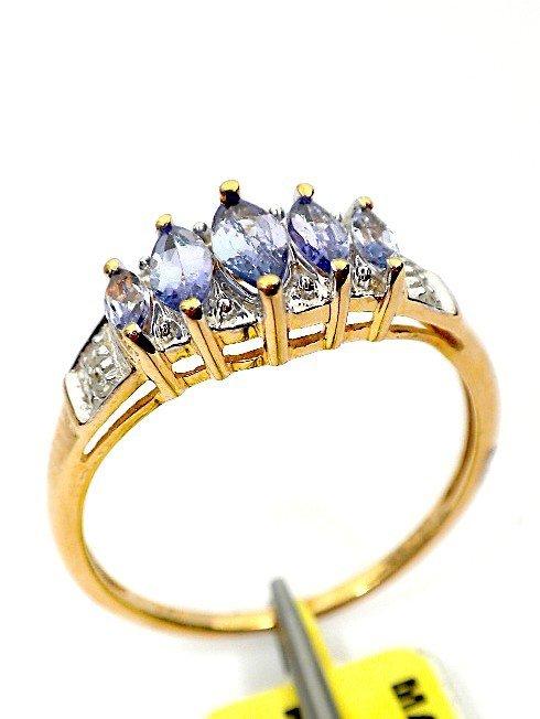 6: AIG Certified 10KT Yellow gold tanzanite and diamond