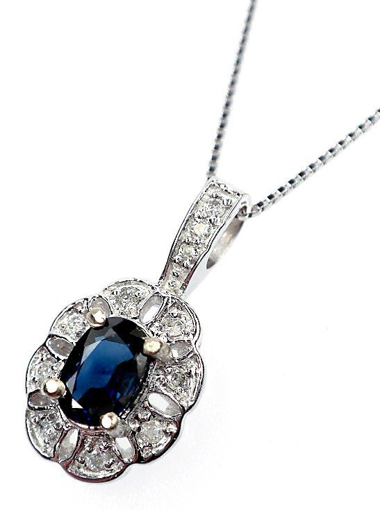 57: AIG Certified 14KT White gold sapphire and diamond