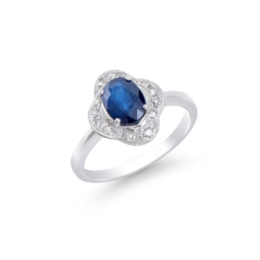 1.80 CTS CERTIFIED DIAMONDS & BLUE SAPPHIRE 14 K WHITE