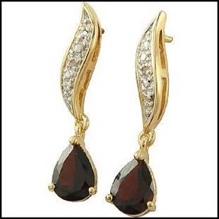 1.82 CT Garnet & Diamond 18KGP Designer Dangle Earrings