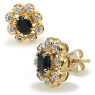 1.42 Ct Black Sapphire & Diamond 18KGP Designer