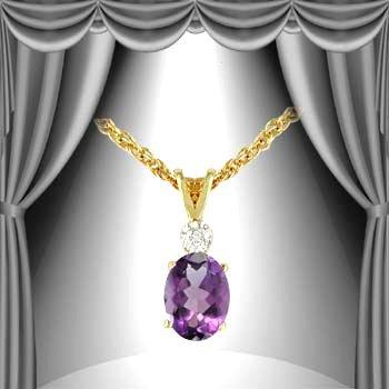 397: Genuine .75 CT Amethyst Diamond Pendant
