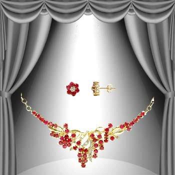542: Genuine 9 CT Ruby Diamond Set