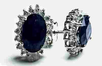 2.16 CT Blue Sapphire Diamond Earrings $5,750