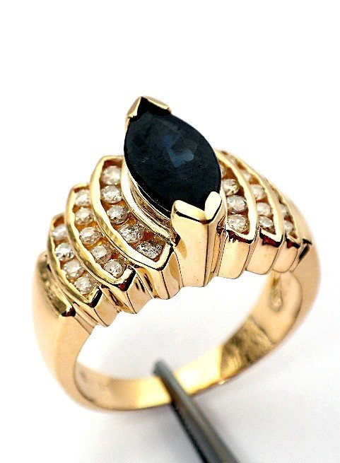 23: AIG Certified 14KT Yellow gold sapphire and diamond