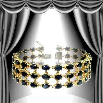 20: Genuine 40 CT Genuine Sapphire 3 Row Bracelet