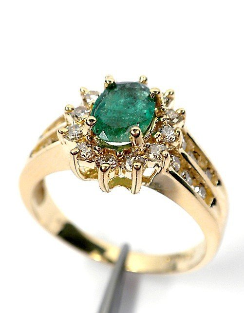 44: AIG Certified 14KT Yellow gold emerald and diamond