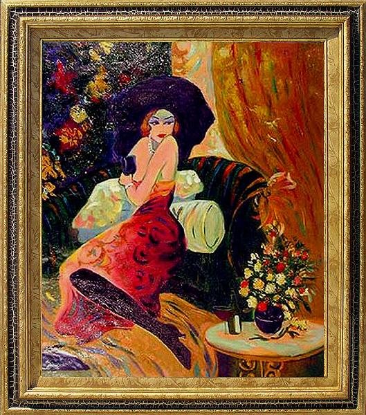229: Framed Oil Painting on canvas - Lady in Red