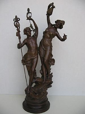13: Antique Bronze Staute of Man and Woman