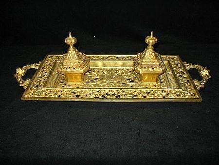 20: Antique Gold Plated Inkwell set