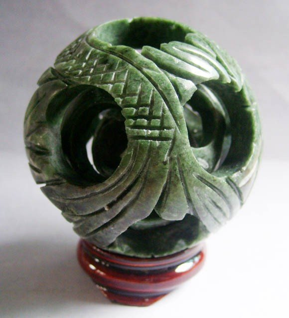 24:Hand Carved 3 Layers Green Jade Puzzle Ball Sphere