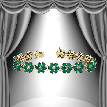 11: Genuine 38 CT Emerald Agate Diamond Bracelet
