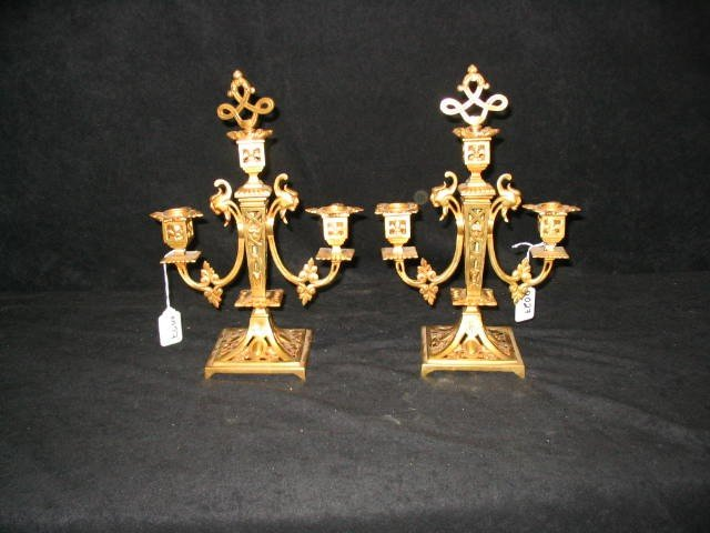 21: Antique Bronze Gilded Candelabras